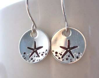 Starfish sterling silver earrings, beachy silver earrings, beach wedding jewelry, made by tide pools, hawaii earrings, under the sea
