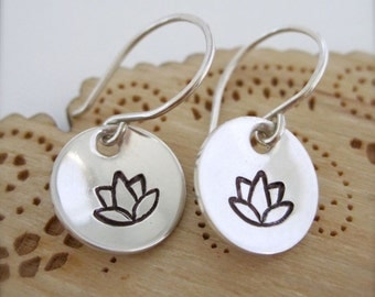 Lotus earrings - Sterling silver hand stamped earrings, flower earrings, small silver earrings, mom gift, mother's day jewelry, everyday