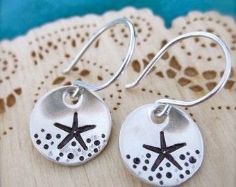 Starfish sterling silver earrings, made in Hawaii, hand stamped starfish earrings, ocean theme earrings, beachy jewelry, Hawaiian starfish