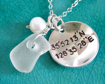 Seaglass Latitude Longitude coordinates necklace, Coordinate necklace with beach glass, geocaching necklace, geocache necklace, nautical