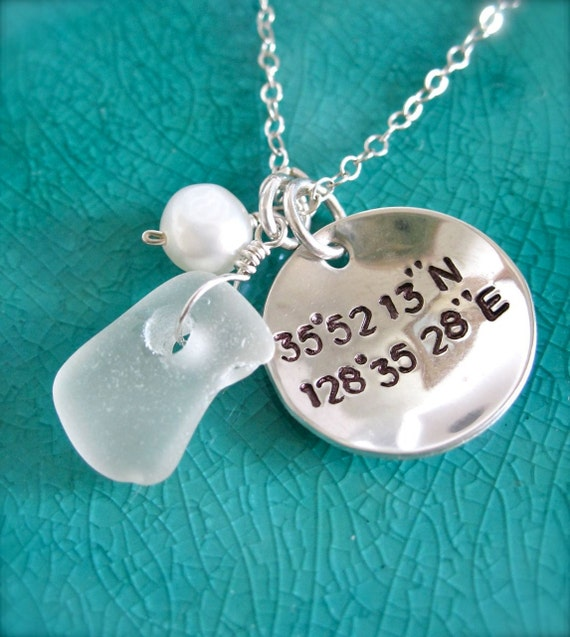 Geocache necklace with Sea glass - Latitude and Longitude necklace, Coordinates necklace, Coordinate jewelry, Nautical coordinates, Geocache