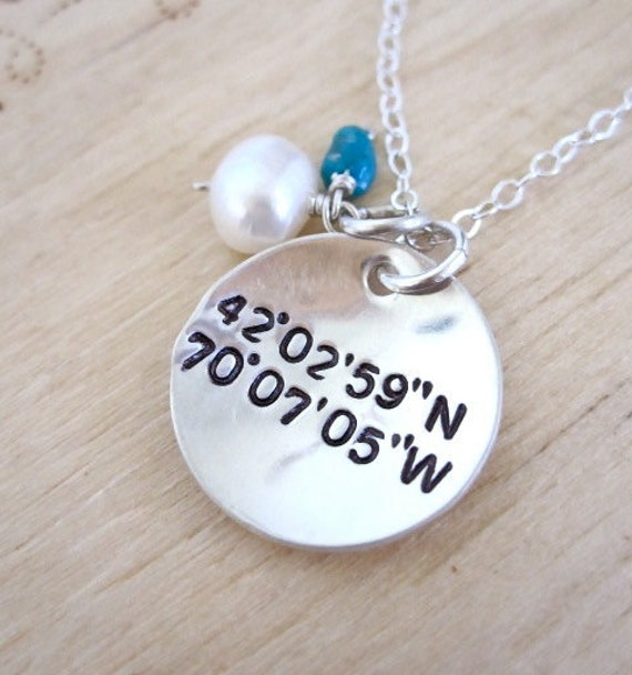 Geocaching coordinates sterling silver necklace, coordinate necklace, personalized wedding jewelry, special location necklace, remembrance