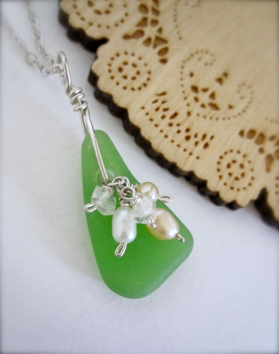 SUPER SALE // Green sea glass necklace - made in Hawaii