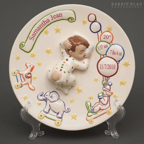 Baby Birth Plate Ceramic Vintage Baby And Plate By Babyplates