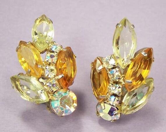 Vintage Juliana Golden Topaz Crystal Rhinestone Earrings