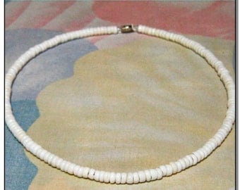 "Real Ivory White Puka Shell Necklace or Bracelet - Small Cone Shells - 7"" to 24"""