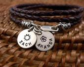 3 Layer Leather Wrap Bracelet with Personalized Sterling Silver Discs