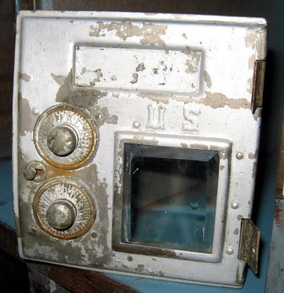 Vintage US Industrial Postal Mailbox Door Front