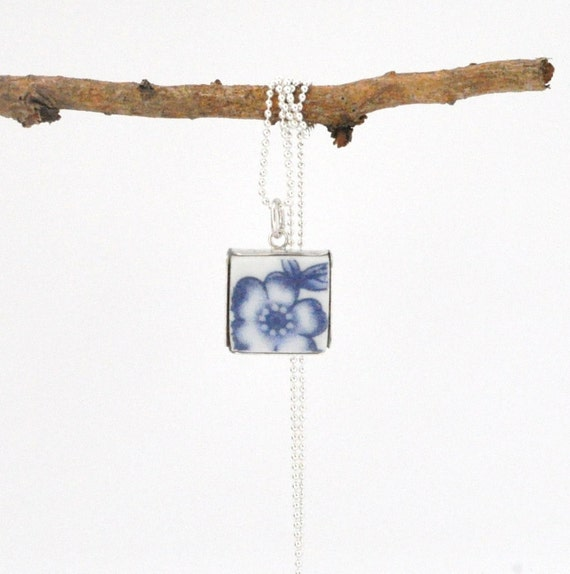 Broken China Pendant - Square - Blue Chintz - Floral - Recycled Plates