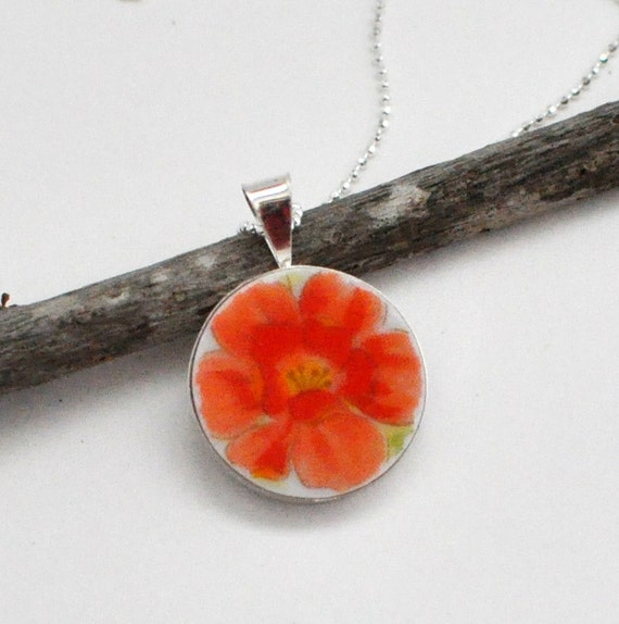 Broken China Jewelry - Pendant - Recycled Plates - Orange Flower - Necklace