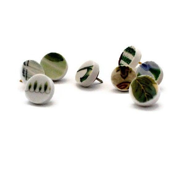 Broken China Push Pins - Recycled - Shades of Green - Upcycled - set of 8