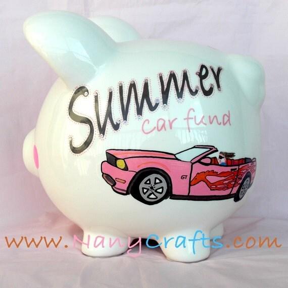 Hot Pink Mustang Piggy Bank
