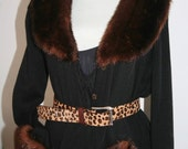 Vintage Full Length Black Sweater or Dress with Faux Mink Cuffs and Collar