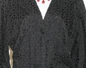 Vintage 1950s Spring Jacket Cropped Cutout Eyelet  Design Size ML