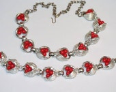 Vintage Jewelry 1950s Silver Tone and Red Berry Necklace and Bracelet Set