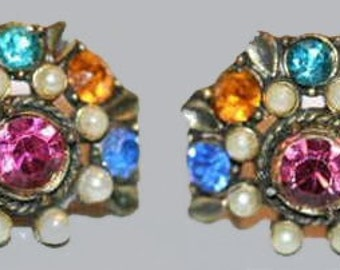 Coro Earrings Colorful Screw On Vintage Rhinestones, 1960's earrings