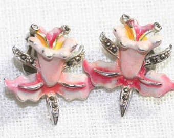 Earrings Pink Enameled Lillies 1960s Clip-ons