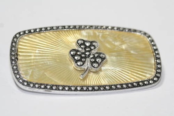 Vintage Celluloid and Marcasite Three Leaf Clover Pin