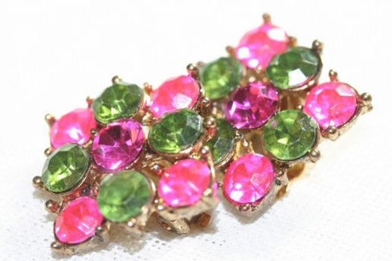 Hot Pink Lime Green Earrings 1960s Hot Clip-Ons