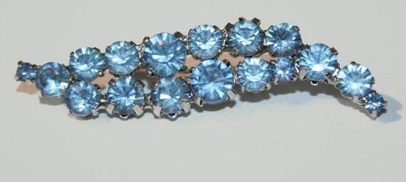 Light Blue Rhinestone Frond Brooch 1960s