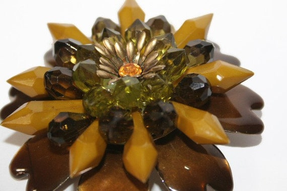 Huge Brooch or Pendant 1960s Flower Power