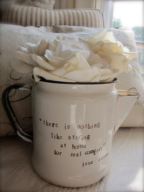 Vintage Enamelware Pot - Pitcher - Jane Austen