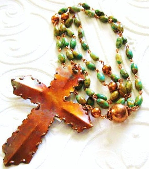 Handcrafted Rosary Green Turquoise with Copper Cross