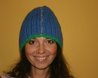 Slouch Beanie Blue Knit SkullCap Hat Cap - ONE SIZE - ready to ship