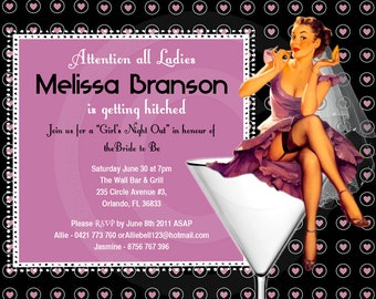 21st Printable Birthday party or bachelorette invitation any color pin up DIGITAL twenty one or customize