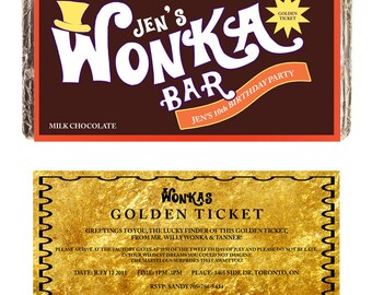 CUSTOM WONKA BAR Hershey Lindt Label  Printable digital chocolate bar candy label for kids birthday party gift or invitation