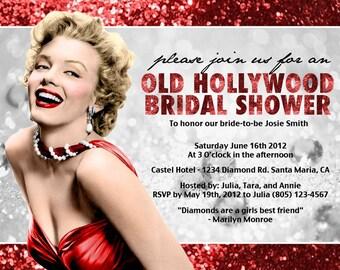 Printable Birthday Hollywood Glamour or bachelorette lingerie shower birthday party invitation Marilyn Monroe  DIGITAL customize