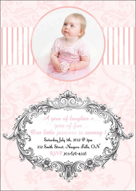 SALE Printable first Birthday party invitation baby one pink princess DIGITAL any age personalized
