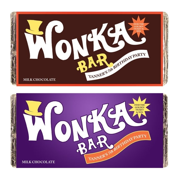 Custom Wonka Bar Hershey Label Lindt Printable Digital