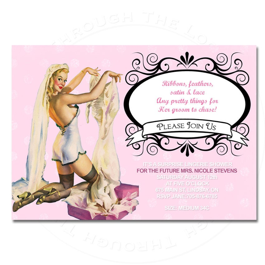 You print lingerie wedding shower party invitation pin up for Lingerie bridal shower invitations
