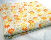 Vintage Bed Sheet - Yellow and Orange Daisies - Twin Flat