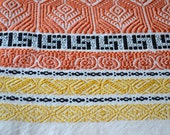 Vintage Fabric - Embroidered Border Fabric in Autumn Color - One Yard
