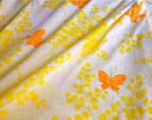 Vintage Bed Sheet - Orange Butterflies on Pale Yellow - King Flat for Repurpose