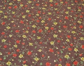 Vintage Fabric - Autumn Roses Corduroy - Red Roses on Brown - 42 x 38