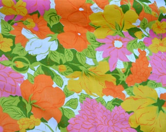Vintage Fabric - Pink Orange and Yellow Floral - 36 x 46