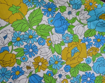 Vintage Fabric - Blue and Yellow Flowers - 36 x 34