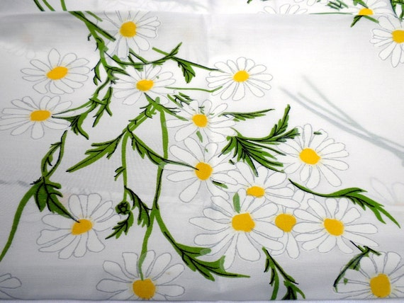 Vintage Bed Sheet - White Daisy Print - Twin Flat