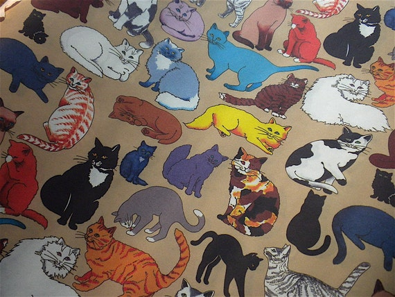 4 Sheets of Vintage Wrapping Paper - Colorful Fanciful Cats