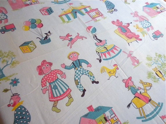 Vintage Fabric - Novelty Print with Animals and Toys - 56 x 42
