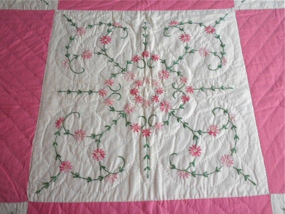 Vintage Pink and White Quilt with Hand Embroidered Flowers - Large Star Design 76 x 84