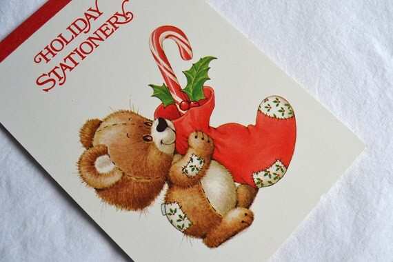 Vintage Christmas Stationery Paper - Teddy Bear Stocking by Ruth Morehead