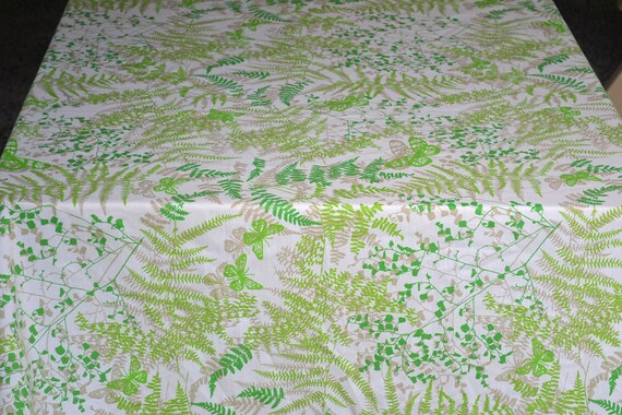 Vintage Bed Sheets and Pillowcases - Vera Butterflies and Ferns in Green - Twin Set for Repurpose