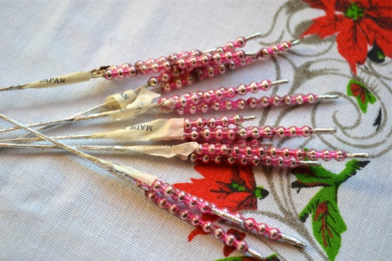 Vintage Christmas Mercury Bead Picks - Pink Corsage Size Stems - A Set of 6