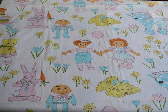 Vintage fabric childrens nursery rhymes animals by for Retro nursery fabric