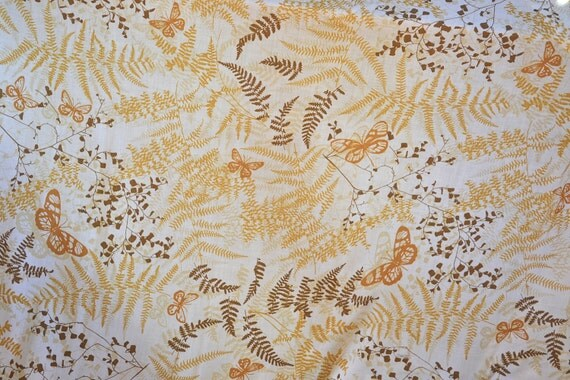 Vintage Bed Sheet - Vera Butterflies and Ferns in Yellow and Tan - Full Flat