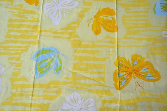 Vintage Bed Sheet - Butterflies on Yellow - Twin Fitted NOS
